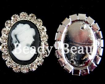 Pk of 2 Cameo lady flat back crystal embellishments