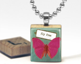 Fly Free Scrabble Tile Pendant Necklace by Cheeky Monkey Pendants Gift-Present
