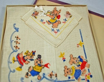 Vintage HANKIE COLLECTORS - A Find - 1940s Vintage  Children's Hankies In Box --  Never Removed From Box - Ducks Puppies Rabbits