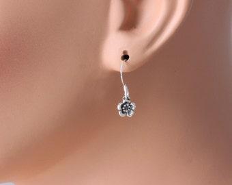 Tiny Sterling Silver  Flower Earrings. Oxidized Flower Earrings.Tiny Flower Earrings in Sterling Silver.Teeny Tiny Flower Earrings.