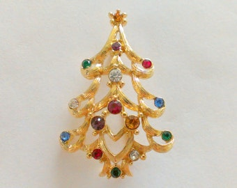 Christmas Tree Brooch / Pin Gold Tone with Colored Rhinestones Monet