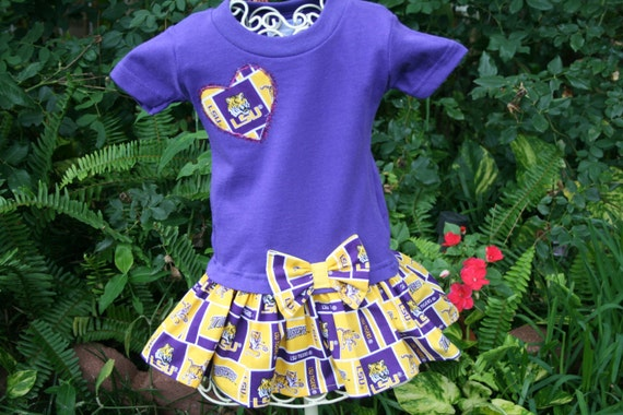 Items similar to 6 mo LSU Tshirt Dress Play clothes