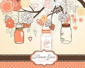 Hand Drawn Mason Jars, card template and digital papers, peach, Clip art for scrapbooking, wedding invitations, Small Commercial Use