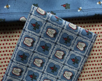 Trio of Coordinating Apple Prints Cotton Fabric Remnants