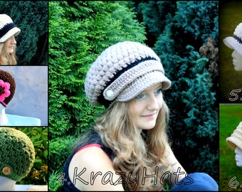 Crochet  spring hat.Newsboy hat.Hat with flowers.