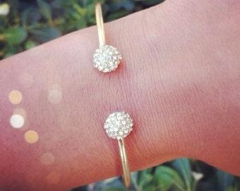 pavé ball cuff bracelet // gold
