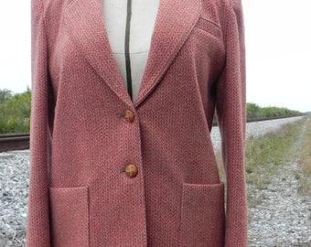 Vintage 1980's Tweed Burnt Sienna Wool Blazer