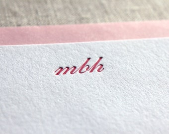 Letterpress Flat Cards with Script Initials