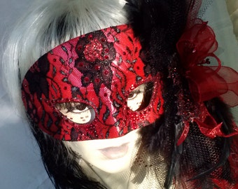 Mask Mardi Gra Venetian VAMPIRE Masquerade Carnevale Day of the Dead GOTHIC Halloween Carnival Venice Theatre Costume Cosplay OOAK Handle