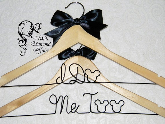 disney wedding hanger set mickey and minnie mouse themed