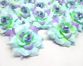 24 Blue Purple mini Roses Heads - Artificial Silk Flower - 1.75 inches - Wholesale Lot - for Wedding Work, Make Hair clips, headbands