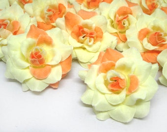 24 Orange Yellow mini Roses Heads - Artificial Silk Flower - 1.75 inches - Wholesale Lot - for Wedding Work, Make Hair clips, headbands