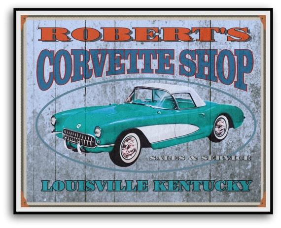 Corvette Signs Garage : Custom corvette personalized garage sign print in full