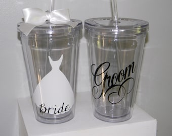 Wedding Cups - Bride Cups - Personalized