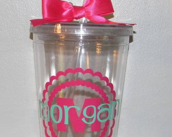 Personalized Bridesmaids Gift  Monogram  tumbler 16oz BPA free- Custom You Choose Colors