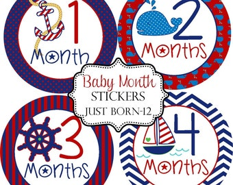 Boys Nautical Whale Anchor, Monthly Baby Stickers Make Great Baby Shower Gifts..Bonus Just Born Sticker Included