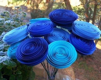 Paper Flower Bouquet in Aqua, Navy, Royal and Baby Blue (16)  - Paper Flower Bouquet - Perfect for Weddings, First Anniversary Gift Paper