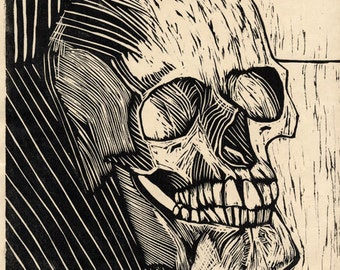 Hand-Pulled Woodcut Skull no. 14