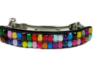 Multi-Colored Hair Barrette, Rainbow, French Hair Clip for Girls and Women, Hair Accessories
