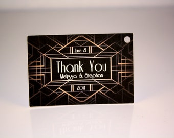 Wedding Favor Tags - Art Deco (50) - Personalized Thank You Tags, Perfect for Weddings or Party Favors