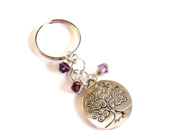 Tree of Life Keychain Bag Charm Keyring Yoga Accessories Amethyst Purple Gift For Her Birthday Friendship Mother Daughter Under 20 Item A18