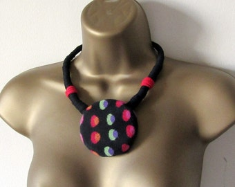 Chunky tribal fabric necklace, black, red and green, African style. Statement necklace, upcycled recycled repurposed, eco-friendly, for her.