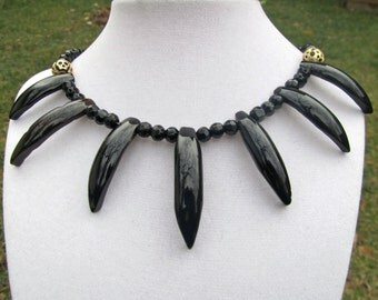 Black Spike Necklace, Statement Necklace, Black Stone, Tribal Necklace, Goth Necklace,  Black Onyx, Collar Necklace, Natural Stone  357