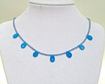 CLEARANCE, Reduced 40%, Chalcedony Necklace, Cornflower Blue, Blue Agate, Faceted Teardrops, Minimalist Necklace, Sterling Silver   066