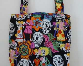 Black Dancing Partying Wedding Skeletons Mexican Day of Dead Decorated Skulls Folkloric - Cotton fabric Tote Bag/Purse