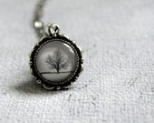 Winter tree glass dome pendant - tiny jewelry necklace  tree jewelry - white black grey - minimalist simple necklace christmas gift - ShoShanaArt