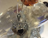 Solid Sterling Silver Box Chain and Marcasite Heart Pendant