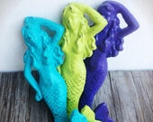 BOLD trio MERMAID towel hooks //seaside aqua lime green grape purple // wall hook // nautical beach bathroom bedroom decor // shabby CHIC