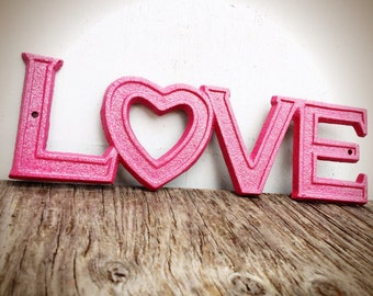 BOLD sparkly glittered hot pink retro LOVE sign // shabby chic metal // valentines heart girls teen room decor