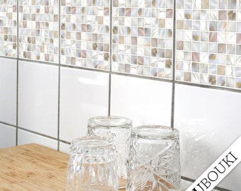 "TILE STICKERS - set of 4 - ""PEARL 01"""