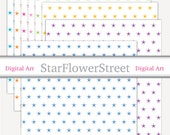Printable Gift Wrap - gift wrapping digital paper star stars blue pink purple green download holiday
