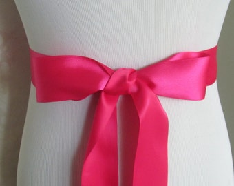 Hot Pink Bridal Sash / Double Face Sash  Ribbon /  Ribbon Sash /  12ft sash / 9ft sash / 6ft sash