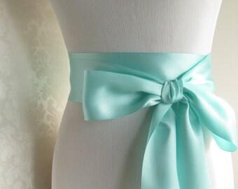 Aqua Bridal Sash / Double Face Sash Ribbon / Ribbon Sash / 12ft sash / 9ft sash / 6ft sash