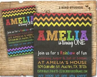Rainbow party invitation - Chalkboard Rainbow birthday theme invite- Rainbow art party printable invitation