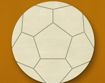"14"" Soccer Wooden Wall or Door Hanging - Unfinished Wood - Great for a child's room! Can be painted or stained!"