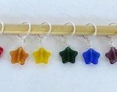 Set of 6 rainbow star stitch markers