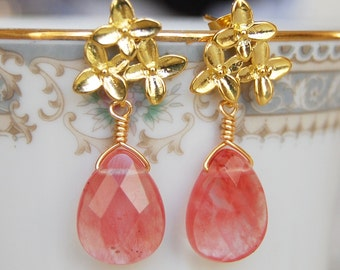 Pink Coral Earrings , Cherry Quartz Earrings , Gold Post Dangle Earrings , Flower Post Earrings