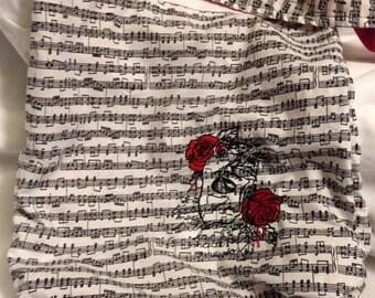 Phantom of the Opera embroidered on Black and White Music Hobo REVERSIBLE CrossBody Bag / purse