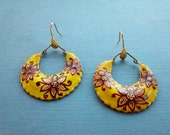 Vintage 1970s Paper Mache And Hand Painted Hoop Earrings