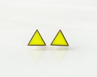 Neon yellow triangle stud earrings