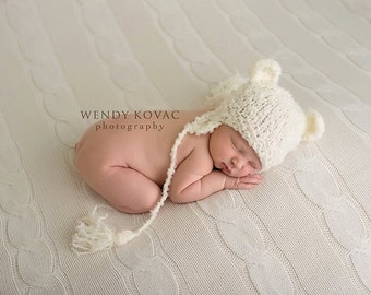 My Little Newborn baby knitted Bear Hat with earflaps perfect for Photography Props
