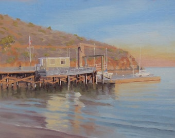 Two Harbors Pier - Catalina - Island - Dock - Boating - California - Oil Painting - Seascape - Ocean