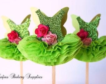 Pixie Fairy 12 pc set Ballerina cupcake toppers ballet tutu green Glitter