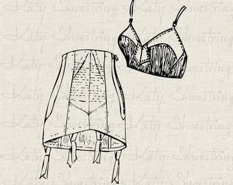 Vintage 1950s Zipper Girdle and Bra Illustration Bridal Shower Download and Print Digital Sheet Image Transfer Clip Art