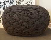 """DIY Knitting PATTERN - Pouffe / Footstool / Ottoman Super Chunky Cable Knit (approx.) 25"""" diameter x 16.5"""" high"""