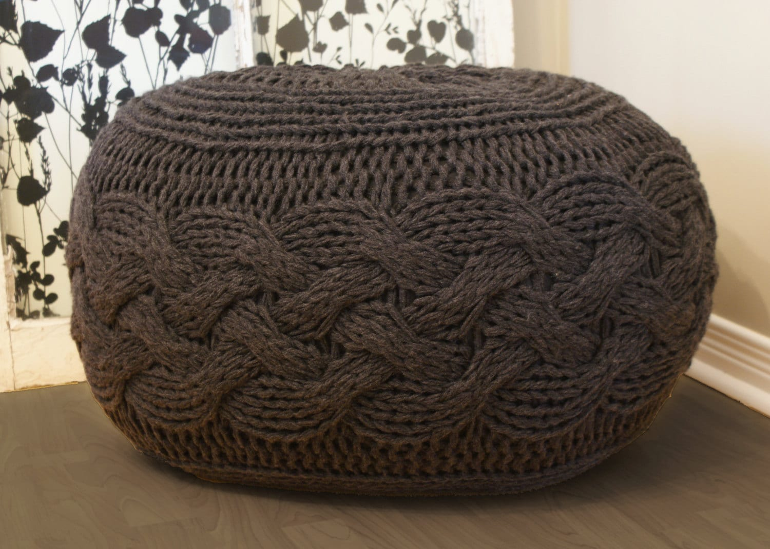 Knitted Ribbing Patterns : DIY Knitting PATTERN Pouffe / Footstool / Ottoman Super